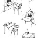 Flotte Entwurfsskizzen, die zur Ideenfindung angefertigt wurden. Für ein kreatives Gestalten ist die freihändige Zeichnung sehr wichtig. Ideen können durch sie schneller dargestellt und festgehalten werden. Eine Verbesserung oder Verfeinerung des Entwurfs lässt sich an Hand von Skizzen rascher durchführen. Sie sind die Grundlage für genauere Zeichnungen am Lineal oder auf dem Computer