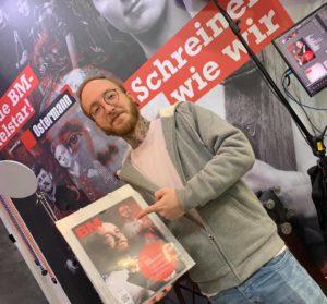 Jonas Winkler am BM-Stand auf der Ligna 2019 in Hannover. BM-Foto: Christian Närdemann