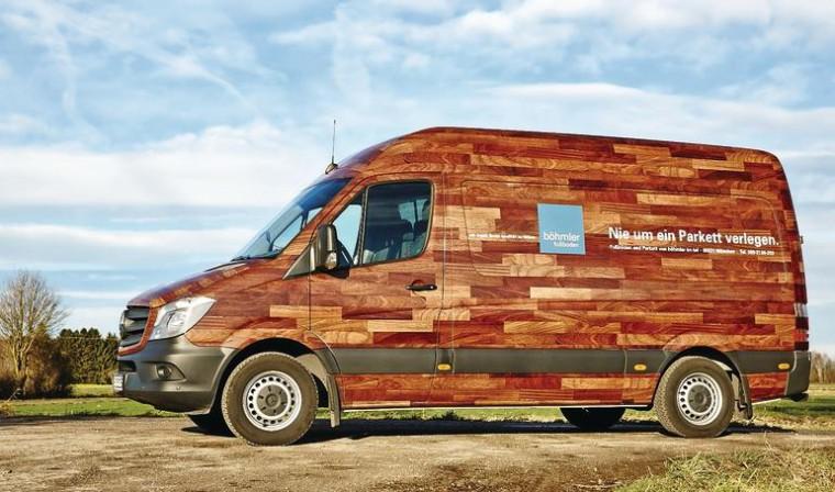 b hmler hat die berzeugendste fahrzeugbeschriftung parkettleger firmenwagen ist stern des. Black Bedroom Furniture Sets. Home Design Ideas