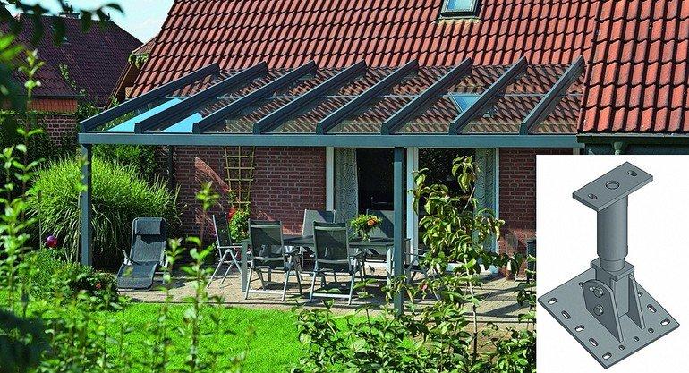 ts aluminium stellt halterung f r aufdachmontage vor terrassendach am hausdach befestigt bm. Black Bedroom Furniture Sets. Home Design Ideas