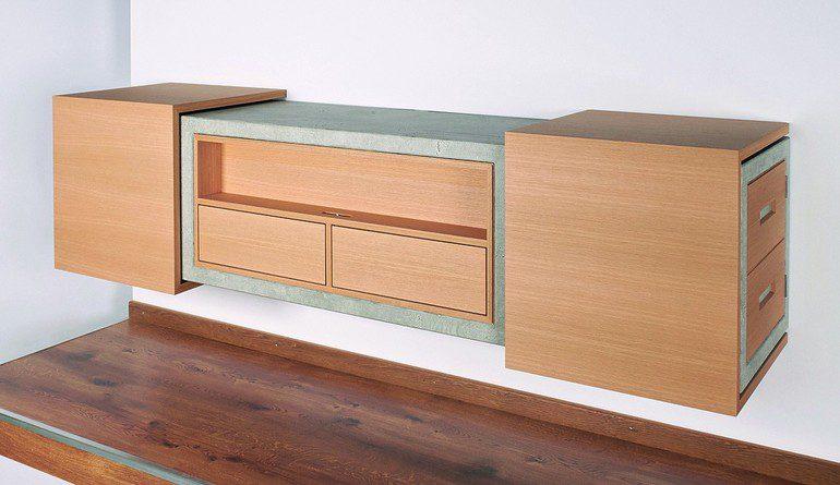 meisterst ck in eiche und imi beton scheinbar schwerelos bm online. Black Bedroom Furniture Sets. Home Design Ideas
