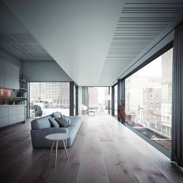 fermacell stellt neue technische und gestalterische l sungen vor akustikdecken mit innovativem. Black Bedroom Furniture Sets. Home Design Ideas