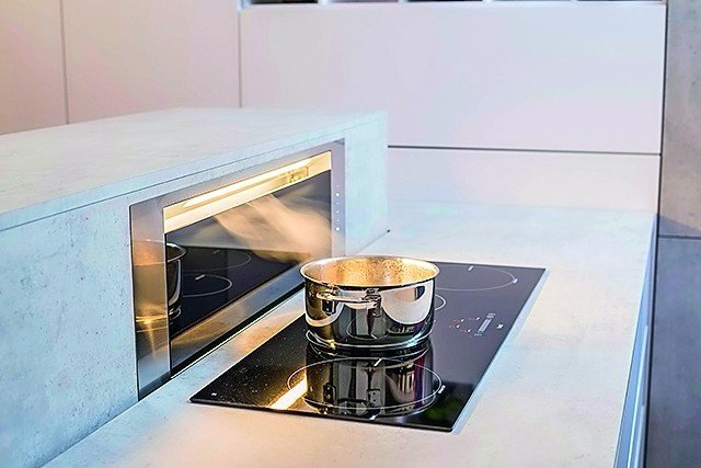 s d metall stellt h henverstellbare kochinsel vor essen kochen feiern bm online. Black Bedroom Furniture Sets. Home Design Ideas