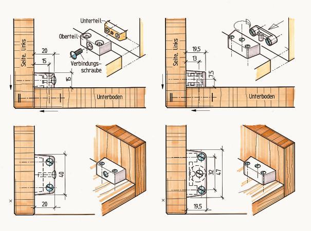 verbindungsbeschl ge f r den m belbau aufschraubbare. Black Bedroom Furniture Sets. Home Design Ideas