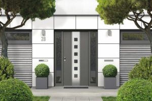 3D_rendering_of_modern_real_estate_bungalow_home_facade_with_white_front_door,_yard_and_trees