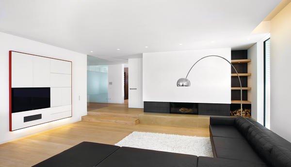 Innenausbau einer offen konzipierten villa puristische for Puristisches wohnzimmer
