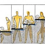 Die Maßverhältnisse des Goldenen Schnittes,bezogen auf die Maße des Menschen in verschiedenen Positionen (le Corbusier)