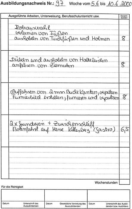 Zulassungsvoraussetzung für die Gesellenprüfung. Das Berichtsheft