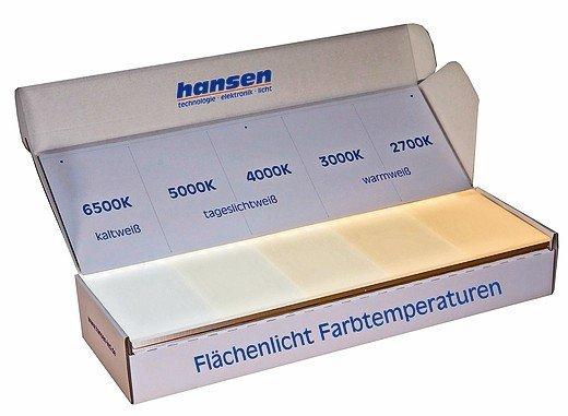 Nützliches Beratungstool: Flächenlicht-Farbtemperatur-Musterset. Foto: Hansen
